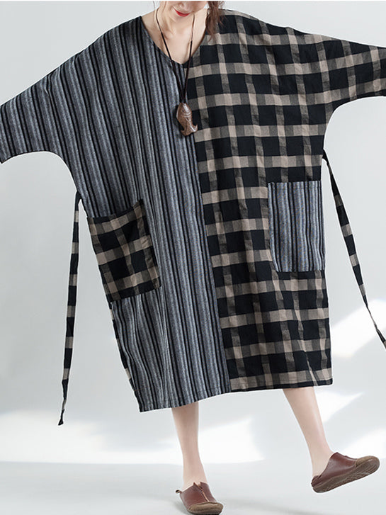 Loose Striped and Plaid Split-joint Linen Long Dress