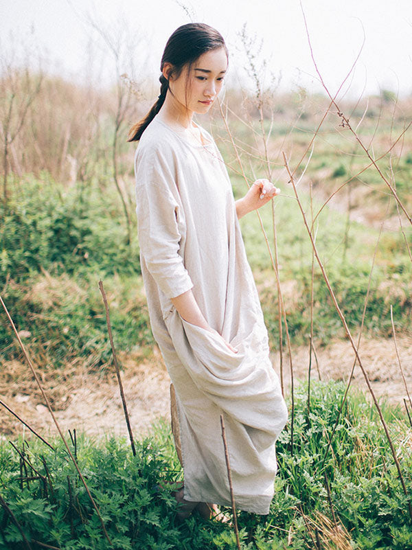 Loose 100%Linen Pure Color Long Robe