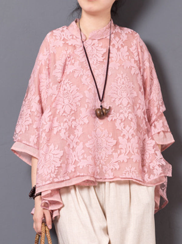Natinal Flower Embroidered Eugenia Tops