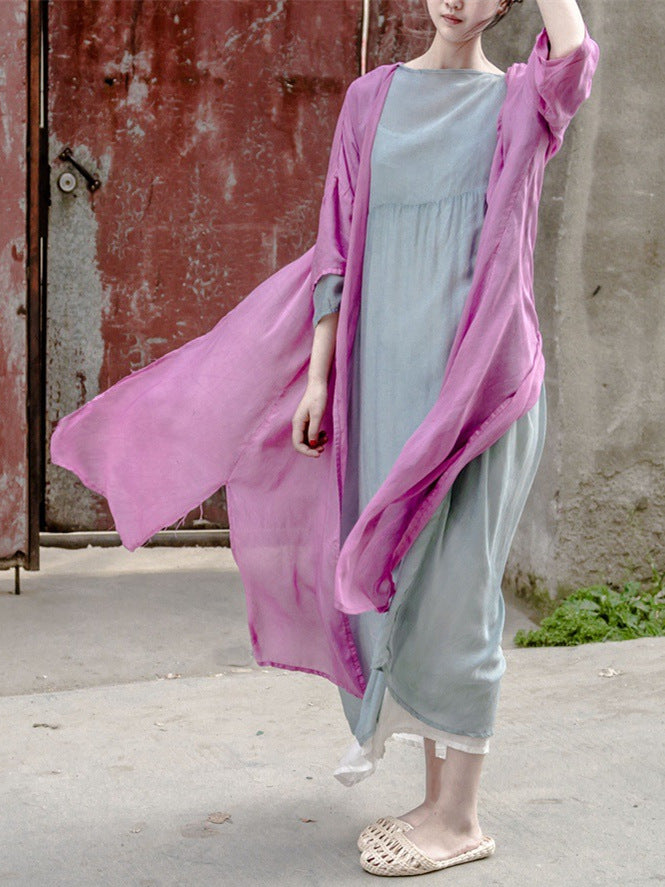 Pink&Purple Mulberry Silk Cover-up