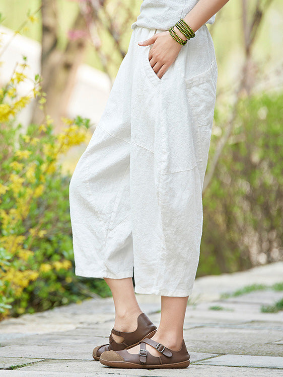 Loose Pure Color Comfortable Linen bloomers