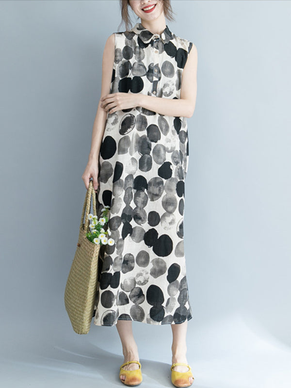 Simple Polka dot Printed Long Dress