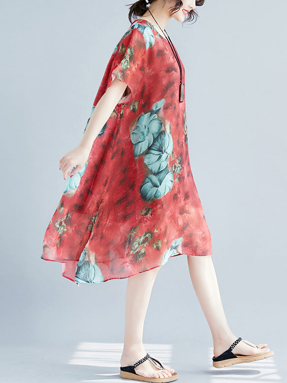 Natinal Flower Printed A-Line Expansion skirt