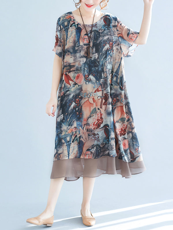 Melting Flower Printed Chiffon Long Dress