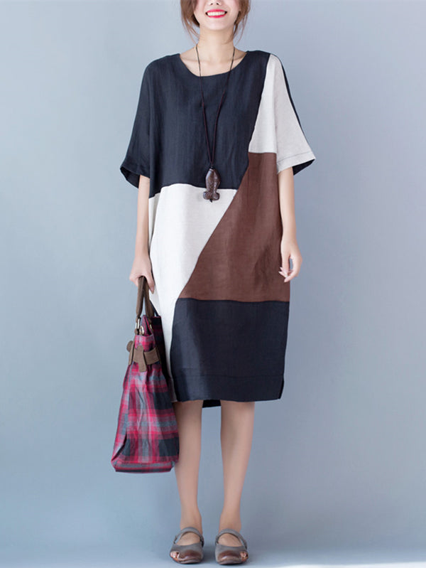 Color-block Split-joint A-line Ramie Cotton Linen Dress