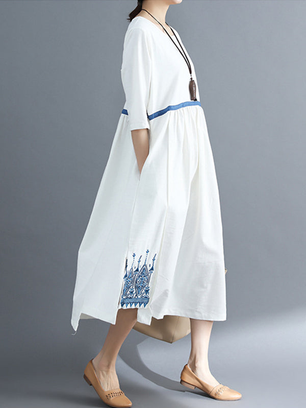 Embroidered Split-side National Style Long Dress