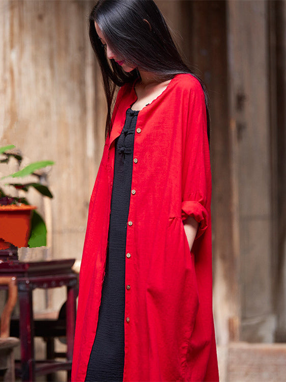 Soft Red Ramie Cotton Linen Cover-up Cardigan
