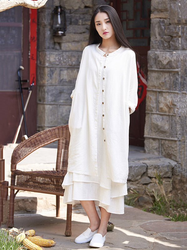 Soft White Ramie Cotton Linen Cover-up Cardigan
