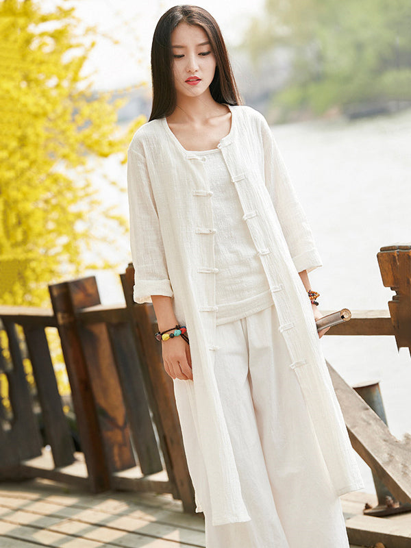 Soft White Frog Ramie Cotton Linen Outwear Cardigan
