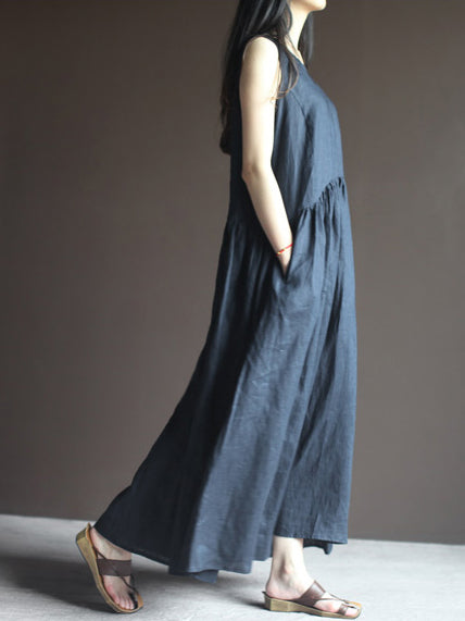V-neck Loose Sleeveless Side Pocket Cotton Long Dress