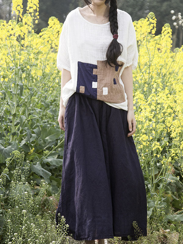 Loose Pure Ramie Cotton Skirt