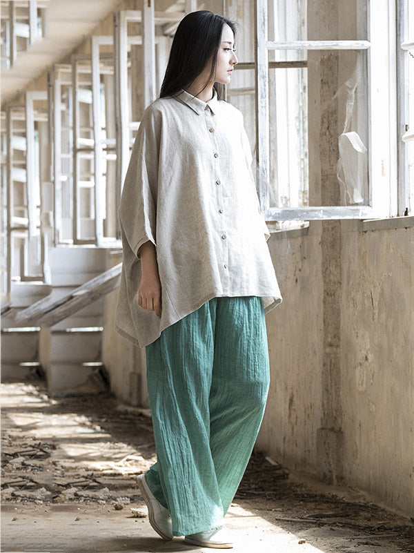 Super loose Linen Cotton Simple Pants