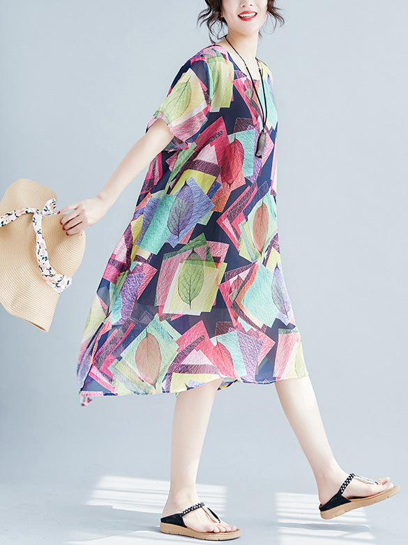 Super Loose Chiffon Big Hem Colorful Dress