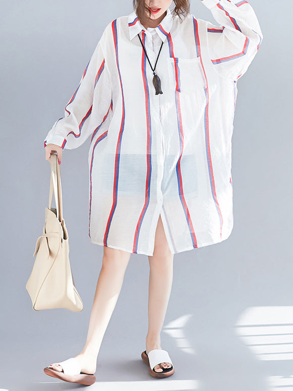 Loose Comfortable Stripe Printed Cover up