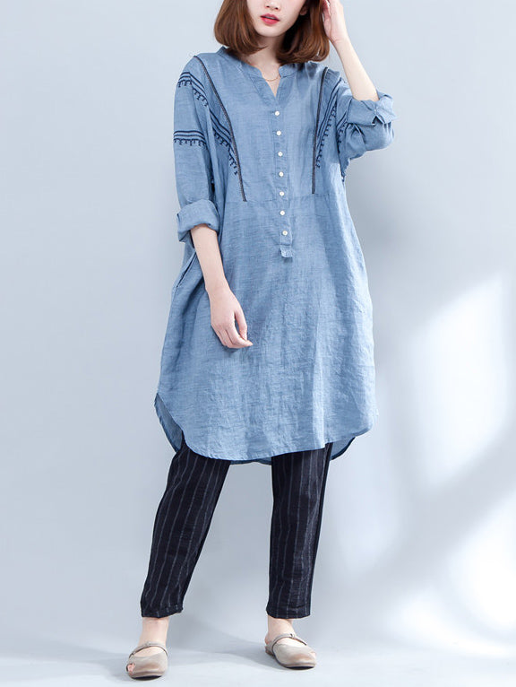 Loose V-neck Embroidered Shirt Dress