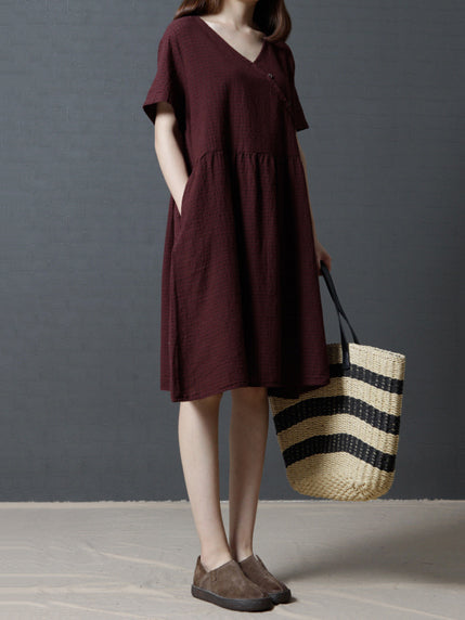 Plaid Loose Ramie Cotton Linen Long Dress