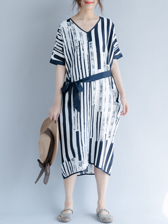 Irregular Stripe Printed Lace-up Dress
