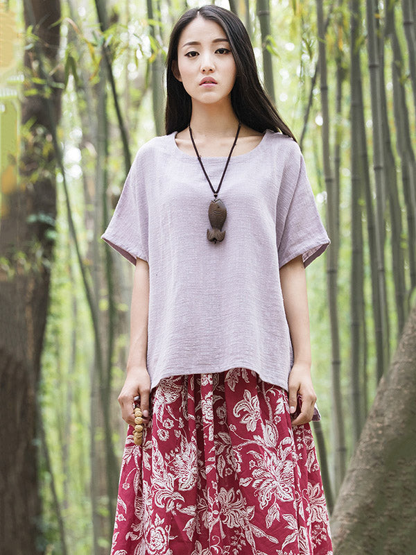 White&Purple High-low Short Sleeves Ramie Cotton T-shirt