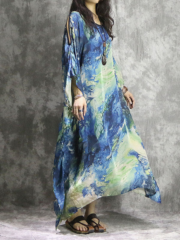 Loose Silk-satin Batwing Sleeves Long Dress