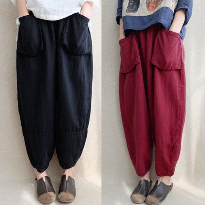 Solid Color Linen Bloomers Pants With Pockets