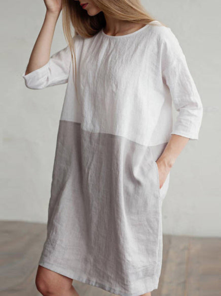 Loose Simple Split-joint Cotton Blouses