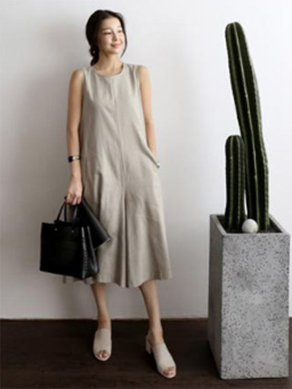 Loose Back Lace-up Wide-legged Jumpsuits