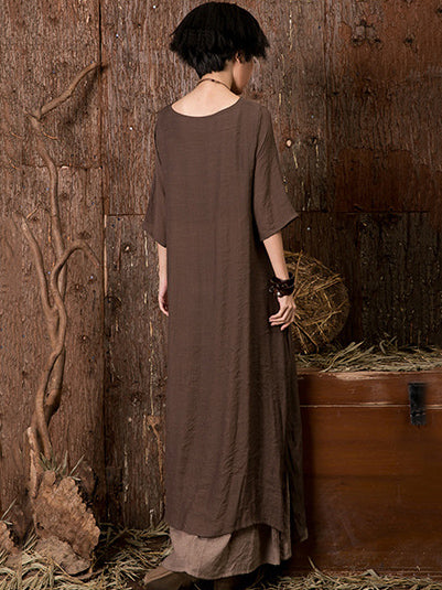 Ramie Cotton Double-deck 3/4 Sleeves Maxi Dress