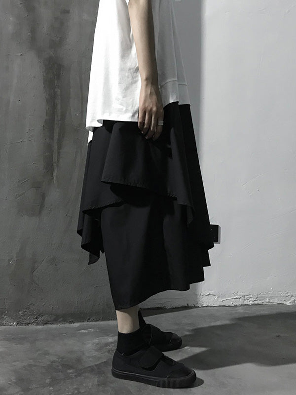 Loose  Asymmetric Tiered Solid Wide Leg Pants