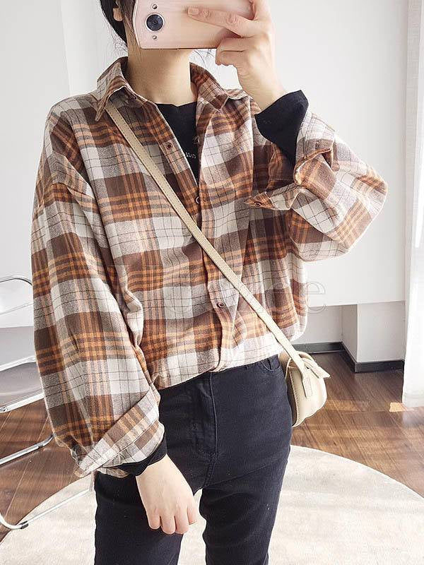 Loose Casual Plaid Cropped Lapel Shirt