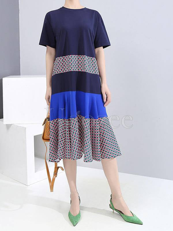 Contrast Color Splicing Ruffled Short-Sleeved Dress