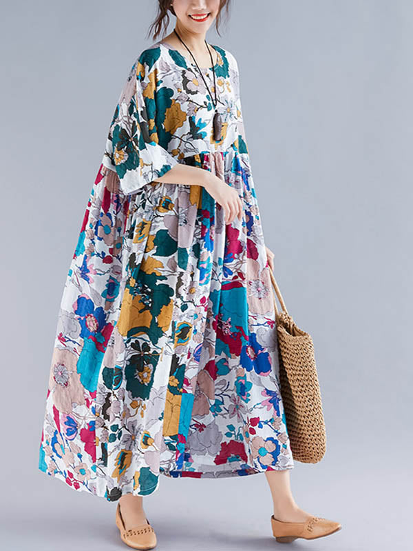 Plus Size Flower Print Round-neck Ramie Long Dress