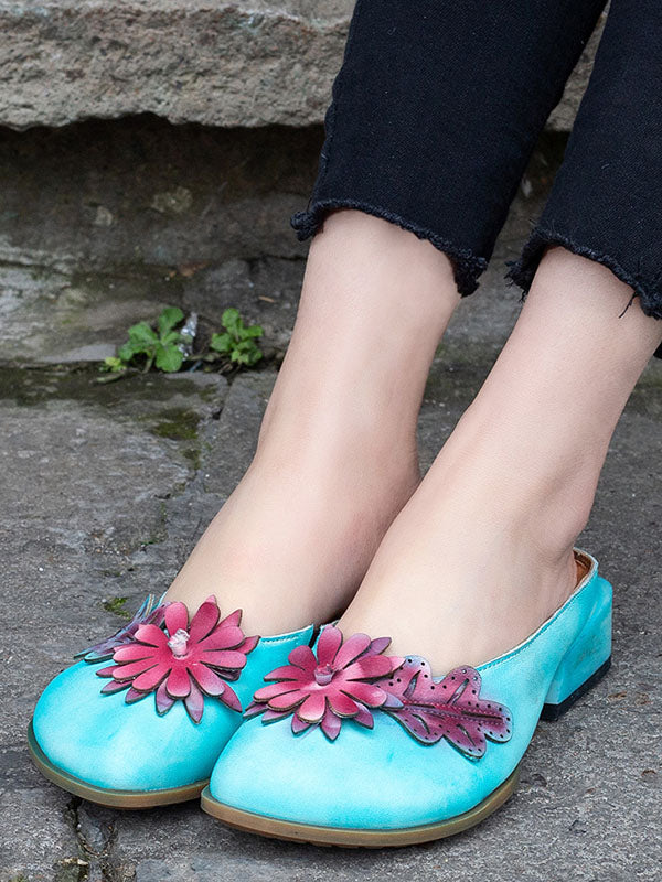 Genuine Leather Flower Decorated Round Toe Mules&Slides