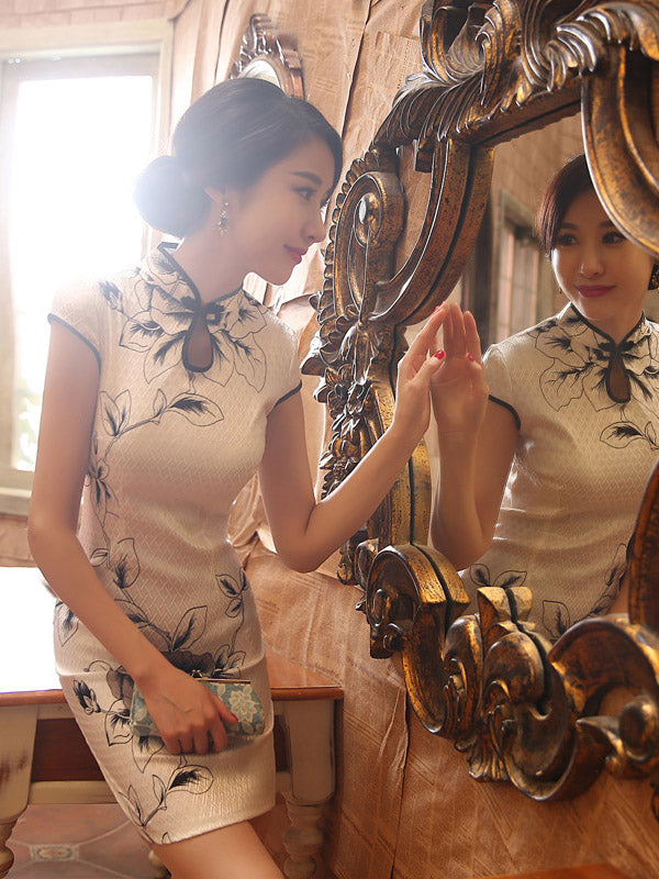 White Leaves Printed Short Cheongsam