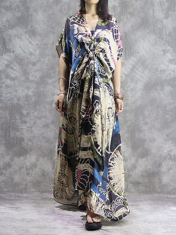Vintage Silk V-neck Printed Dress+ Braces Vest
