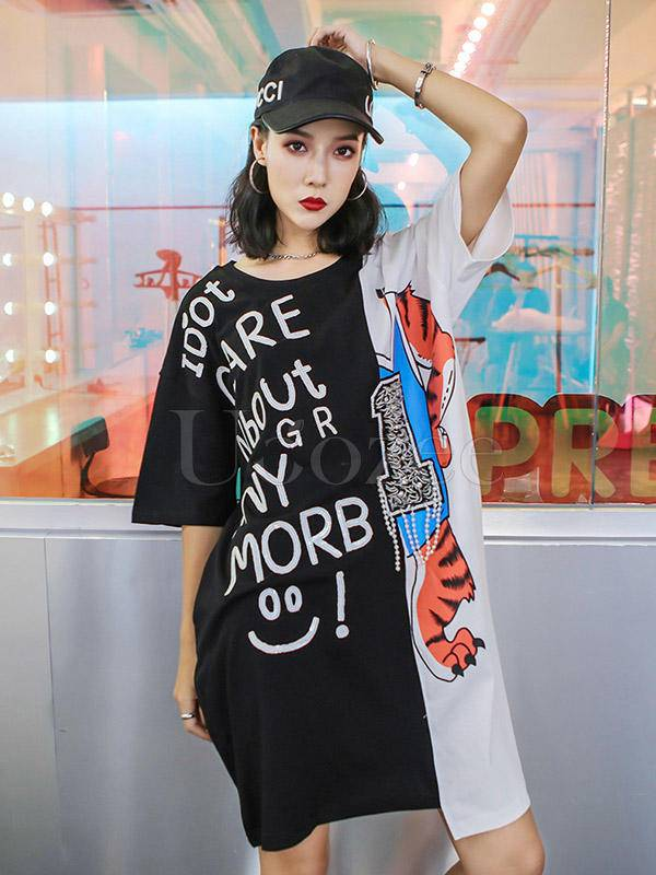Loose Splicing Color Letter Beaded Print Cropped Long T-Shirt