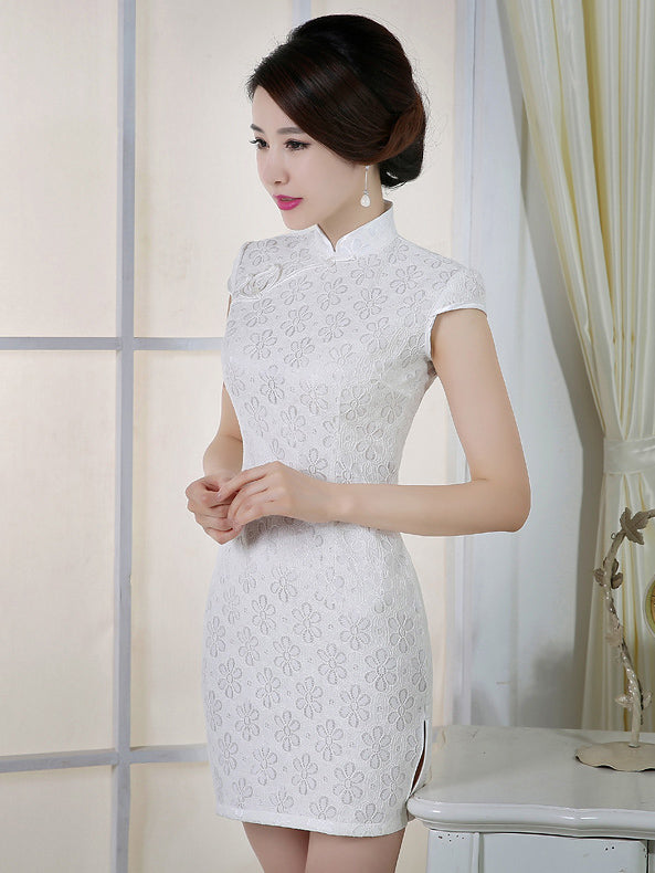 White Lace Short Cheongsam Dress