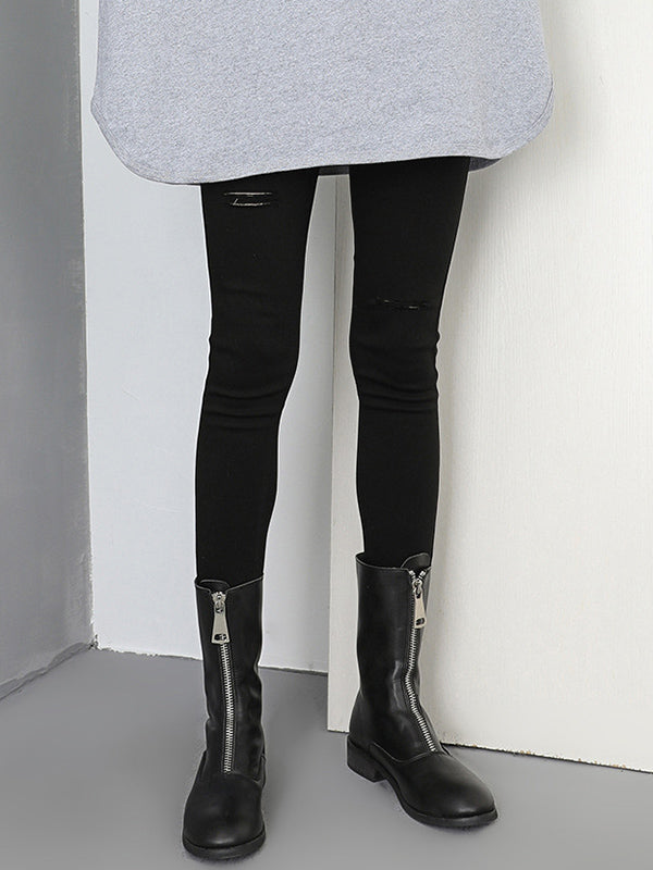 Simple Cool Style Hole-with Leggings Bottom