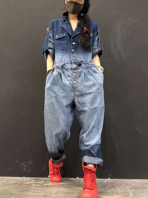 Loose Denim Gradient Lapel With-pockets Jumpsuits
