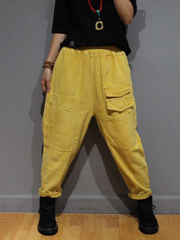 Pocket Corduroy Harem Pants