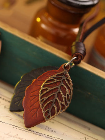 Simple Leather Leaves Cowhide Rope Necklaces