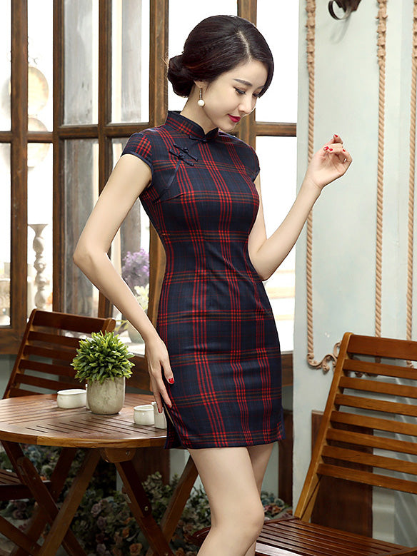 Vintage Plaid Red Short Cheongsam