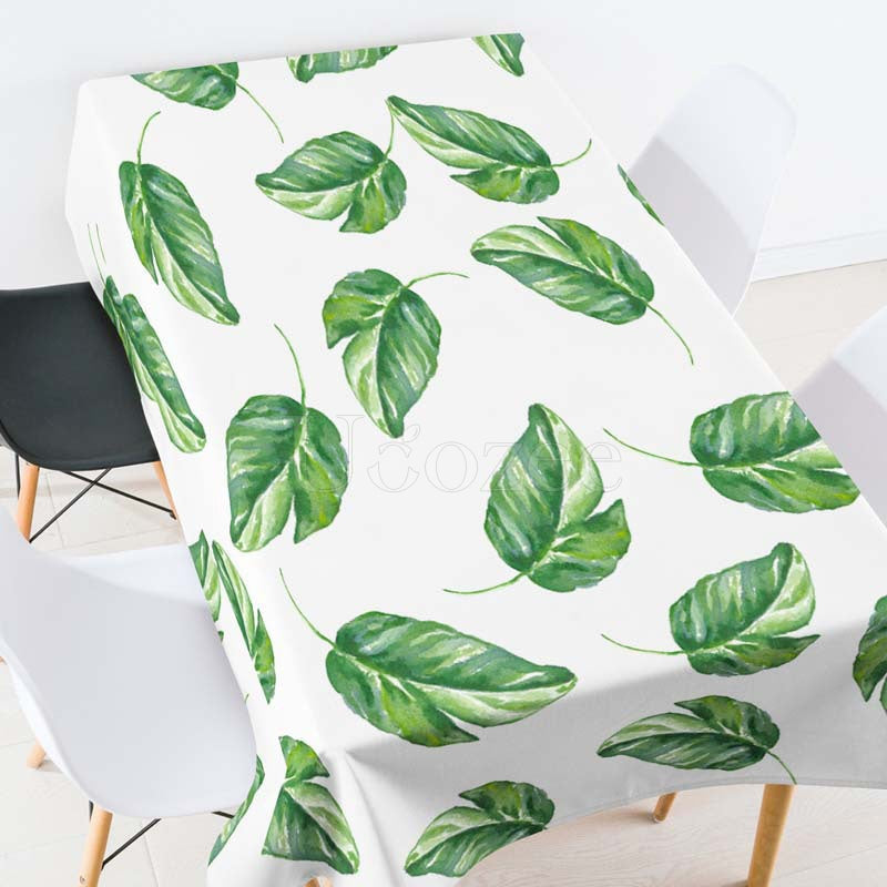 Green Plants Leaves Casual Printed Tablecloth