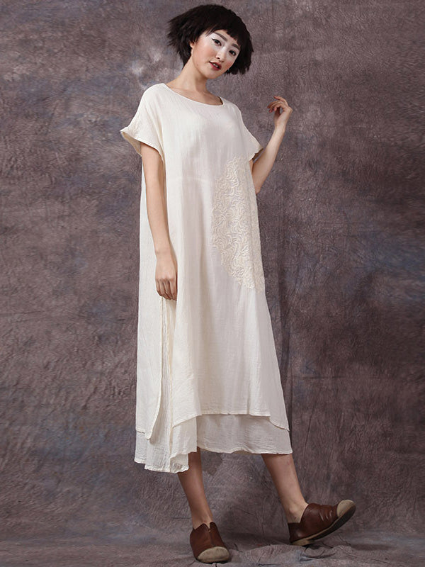 3 Color Round-neck Embroidered Ramie Cotton Long Dress