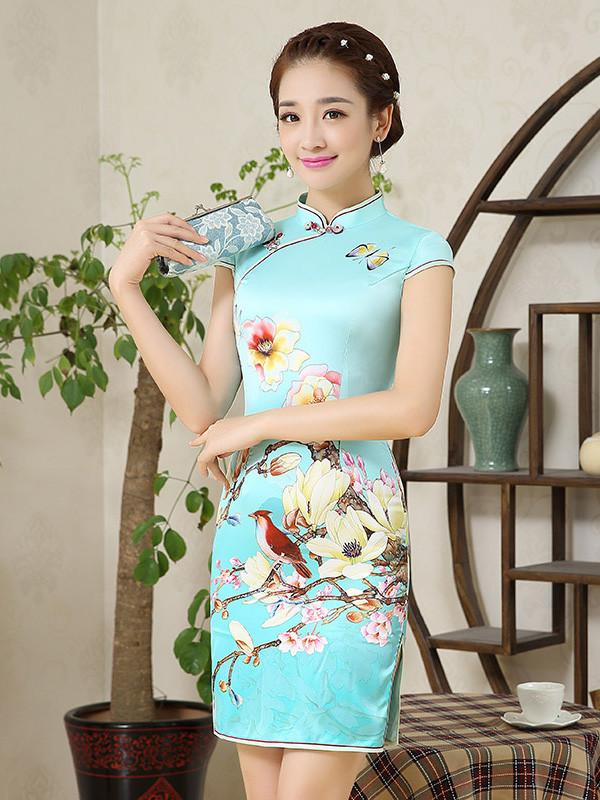 Printed Side Split Short Cheongsam Dress