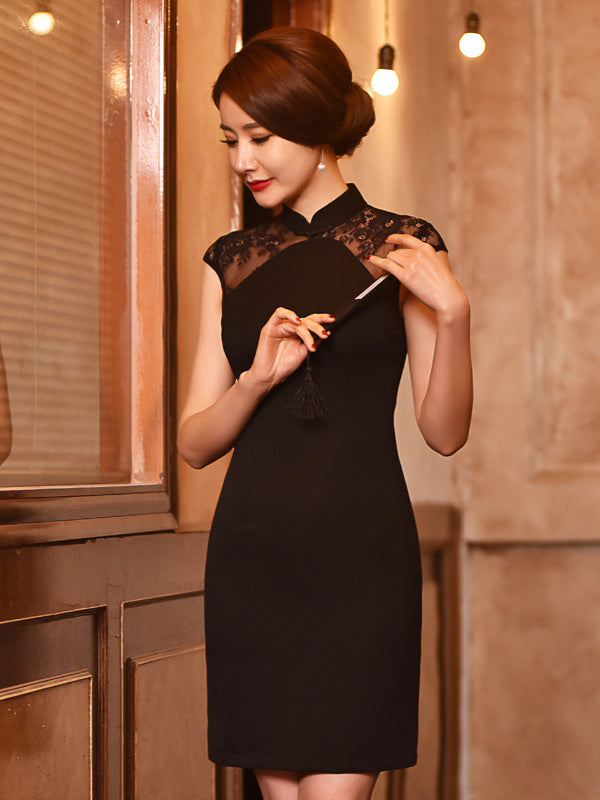 Black Lace Embroidered Short Cheongsam