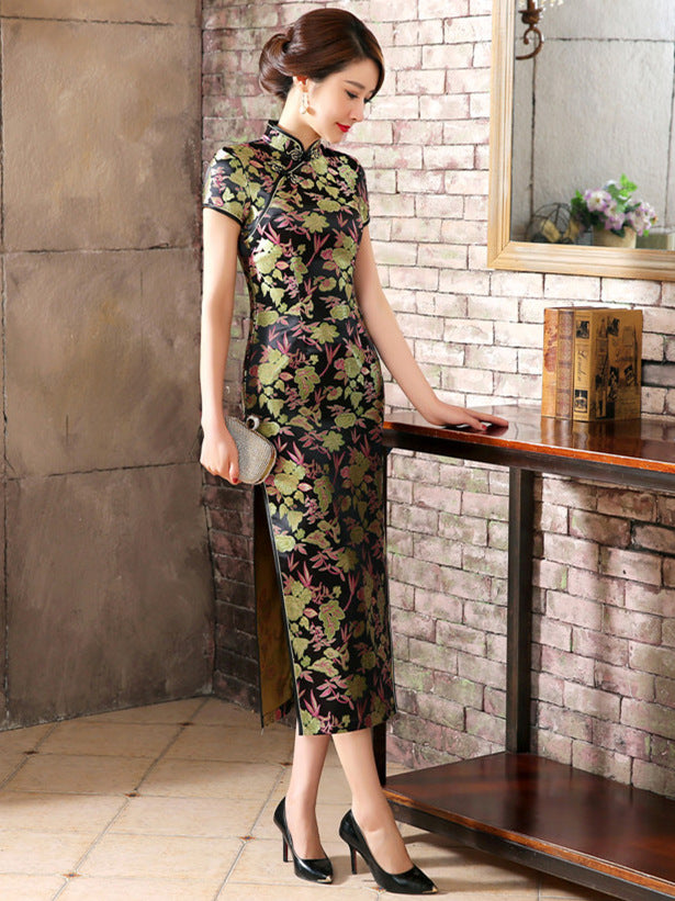 Black Floral Print Split-side Long Cheongsam Dress