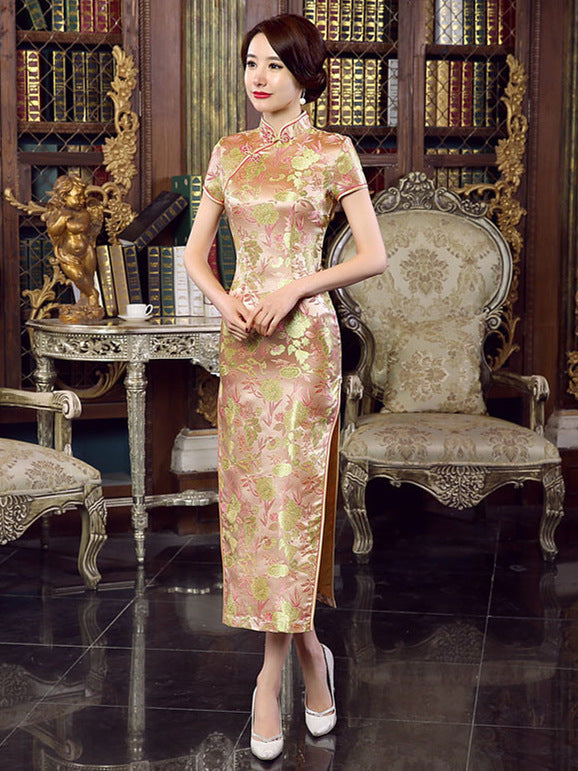Khaki Floral Print Split-side Long Cheongsam Dress