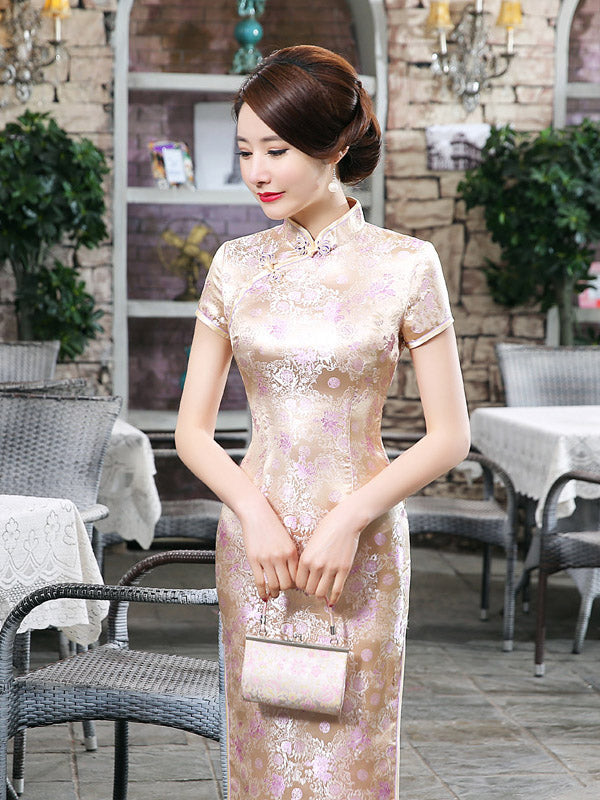Golden Floral Print Split-side Long Cheongsam Dress