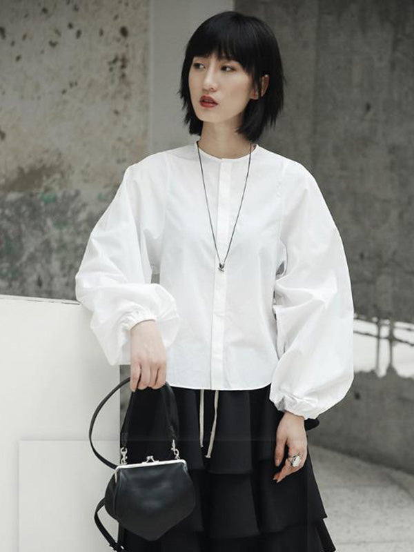 Loose Puff Sleeve White Shirt