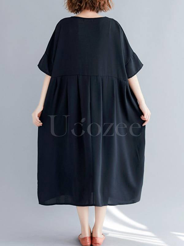 Black Loose Empire Round-Neck Dress